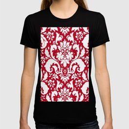 Paisley Damask Red and White Pattern T-shirt