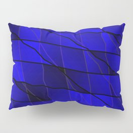 Mirrored gradient shards of curved blue intersecting ribbons and horizontal lines. Pillow Sham