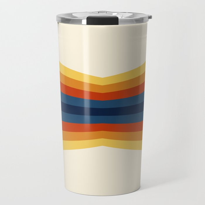 Bright 70's Retro Stripes Reflection Travel Mug