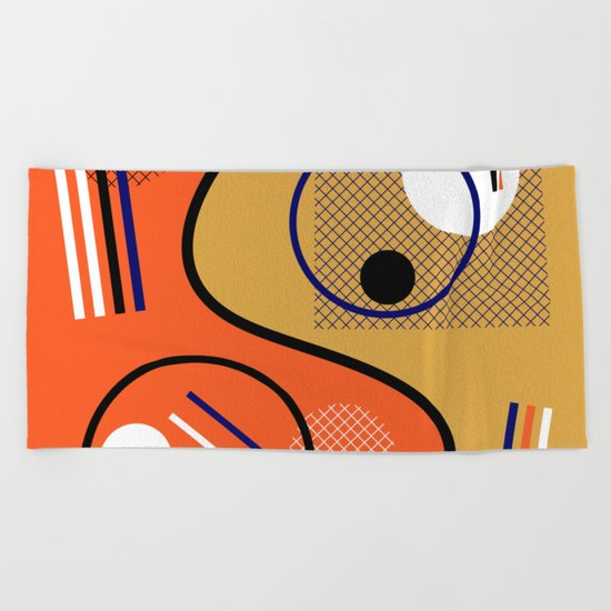 Opposing Sides - Abstract, orange and mustard, geometric, contrasting design Beach Towel