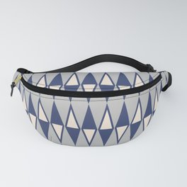 Mid Century Modern Diamond Pattern Blue and Gray 232 Fanny Pack