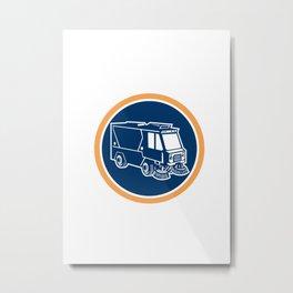 Street Cleaner Truck Circle Retro Metal Print