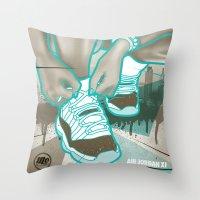 air jordan Throw Pillows featuring Air Jordan XI by Maurice Creative
