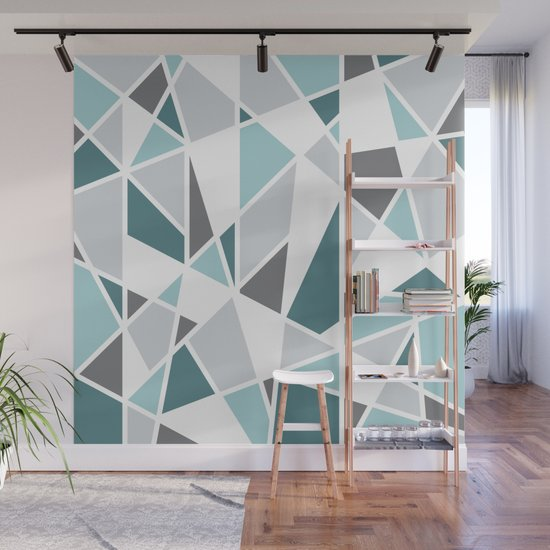 Geometric Pattern in teal and gray Wall Mural by ...