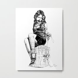 Lady and the Gift. Metal Print