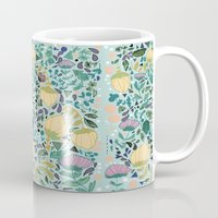 flower pattern Mugs featuring Flower Pattern by Jo Cheung Illustration