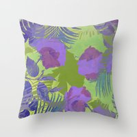hawaiian Throw Pillows featuring Hawaiian Purple by ALLY COXON