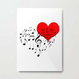 The Singing Heart. Black On White. Simple And Chic Conceptual Design Metal Print