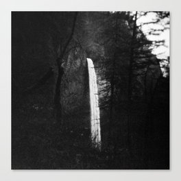 Multnomah Falls in Hiding Black and White Canvas Print
