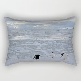 Gentoo Penguins Preening in the Snow Rectangular Pillow