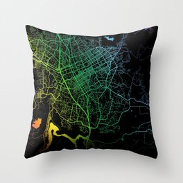 Escondido, CA, USA, City, Map, Rainbow, Map, Art, Print Throw Pillow