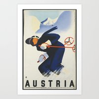 skiing Art Prints featuring AUSTRIA/SKIING by Kathead Tarot/David Rivera