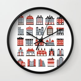 Colored silhouettes of city buildings on a white background Wall Clock