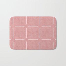 Block Print Simple Squares in Coral Bath Mat