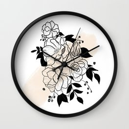 Flowers- Cream Wall Clock