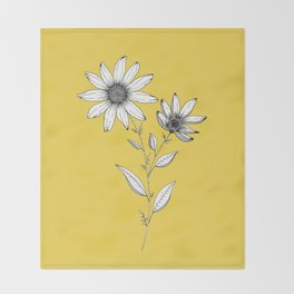 Wildflower line drawing | Botanical Art Throw Blanket