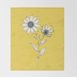 Wildflower line drawing   Botanical Art Throw Blanket