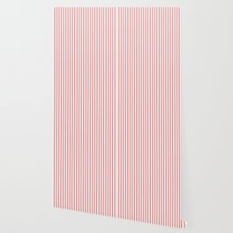 Mattress Ticking Narrow Striped Pattern in Red and White Wallpaper