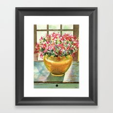flowers in golden vase Framed Art Print