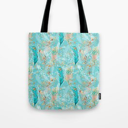 Feather peacock peach mint #8 Tote Bag