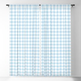 Gingham Light Blue - White Blackout Curtain
