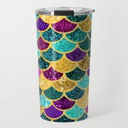 Glitter Purple, Aqua and Gold Mermaid Scales Pattern Travel Mug