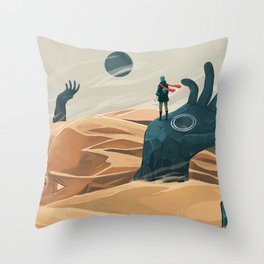 The wanderer and the desert portals Throw Pillow