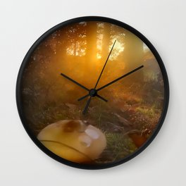 Evening Mood Macrolepiota Wall Clock
