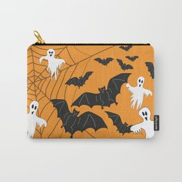 Flying Ghosts & Bats Halloween orange Carry-All Pouch