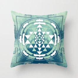 Sri Yantra Sky Mandala Throw Pillow