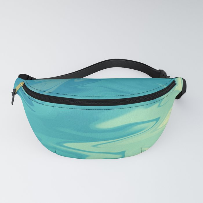 Teal, yellow design Fanny Pack