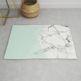 Real White Marble Half Mint Green Shapes Rug