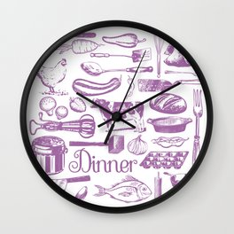 Retro Dinner - White Wall Clock