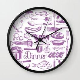 Retro Dinner - White Wall Clock