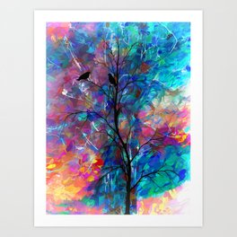 Love Birds Abstract Painting Art Print