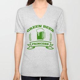 Green Beer Princess St Patricks Day Irish Drinking Unisex V-Neck