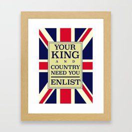 Your King and country need you Enlist. Framed Art Print