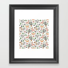 Woodland foxes rabbits deer owls forest animals cute pattern by andrea lauren Framed Art Print