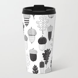 Acorns and oak leaves autumn pattern Travel Mug