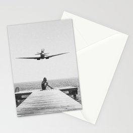 Steady As She Goes; aircraft coming in for an island landing black and white photography- photographs Stationery Cards