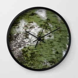Birch Bark Pattern Green and White Wood Pattern Bring the Outdoors In Wall Clock