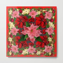DECORATIVE  RED & PINK POINSETTIAS CHRISTMAS ART Metal Print