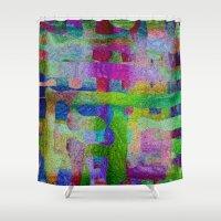 matrix Shower Curtains featuring Hidder Matrix by RingWaveArt