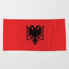 Flag of Albania - Authentic version Beach Towel