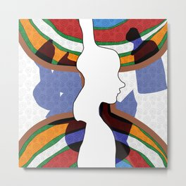 Girl Silhouette with Shapes II Metal Print