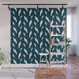 Kereru and magnolia - navy  Wall Mural