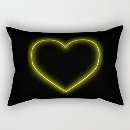 Yellow Neon Valentines Love Heart Rectangular Pillow