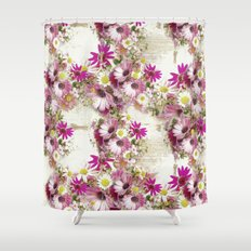Worn Wood and Wild Flowers Shower Curtain