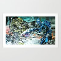 Master Chief vs Sangheili-battle for the life Art Print