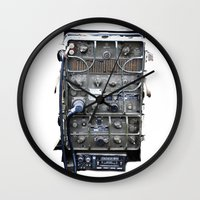 military Wall Clocks featuring Vintage Military Radio  by TomConwayArt